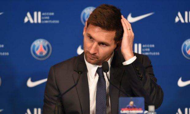 Mandatory Credit: Photo by Zaki John/Shutterstock (12273813v) Lionel Messi press conference Lionel Messi Press Conference, Football, Parc des Princes, Paris, France - 11 Aug 2021