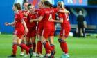 Aberdeen FC Women celebrate Jessica Broadrick's equaliser against Rangers.