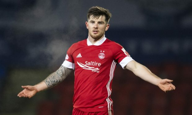 Aberdeen's Matty Kennedy in action during a Scottish Premiership match against St Johnstone.
