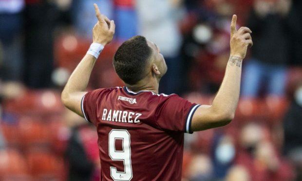 Aberdeen's Christian Ramirez celebrates his debut goal against BK Hacken.