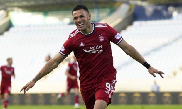 Christian Ramirez celebrates his goal to make it 3-2 to Aberdeen against Breidablik.