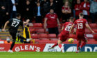 Qarabag's Turav Bayramov scores the opening goal during a UEFA Conference League play-off second leg against Aberdeen at Pittodrie.