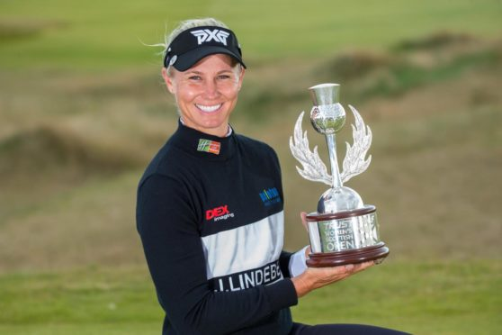 Ryann O'Toole with the Scottish Open trophy.