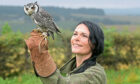 Gayle meets Lana the white-faced scops owl.