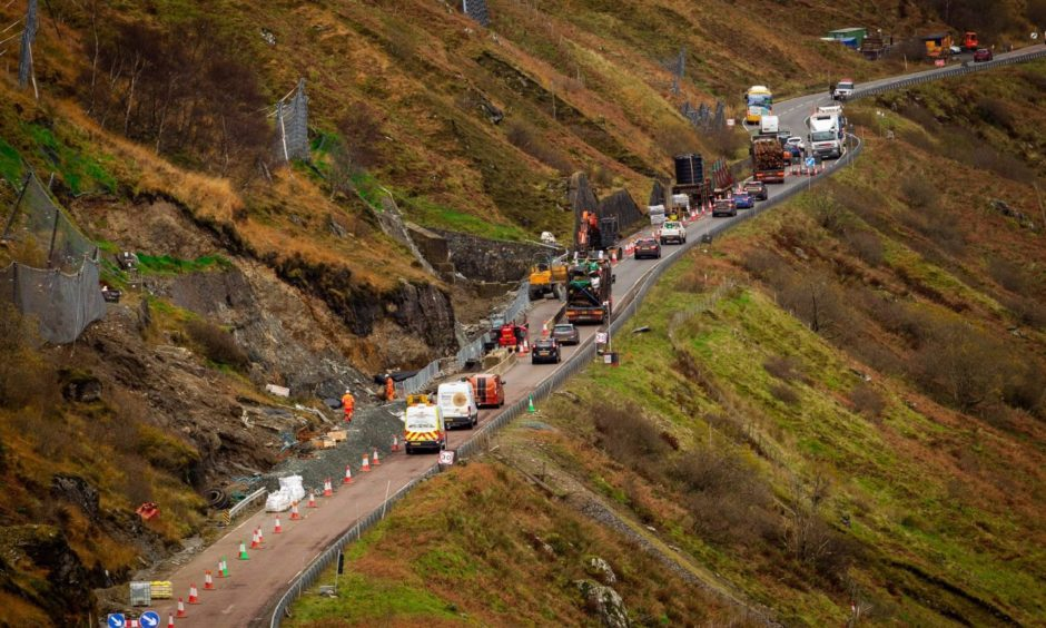 Road works on the A83 where the landslides have occurred.