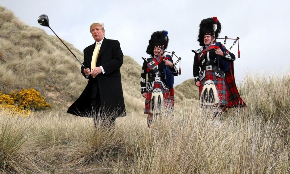 Donald Trump on a previous visit to the Menie Estate.
