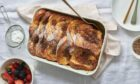Dark chocolate and marmalade bread and butter pudding.