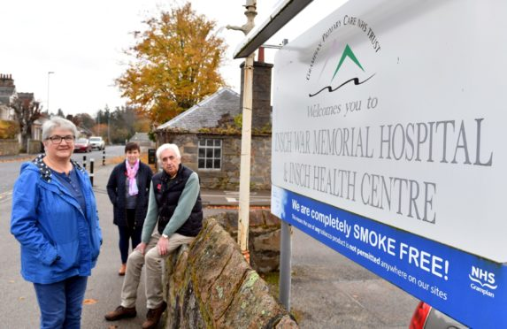 Friends of Insch Hospital and Community, group members Jane Reid (left), Kerry Smith and Alasdair McCallum (right) at the hospital.