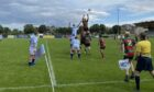 Line-out action from Edinburgh Accies v Highland.