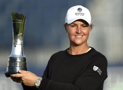 Sweden's Anna Nordqvist with the trophy.