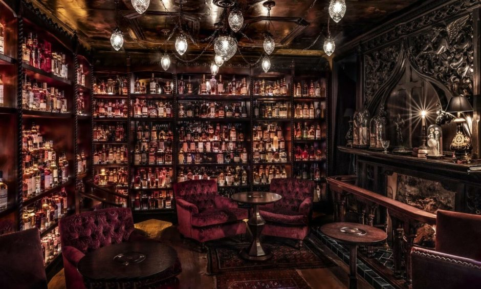 Inside Bertie's whisky bar in the Fife Arms.