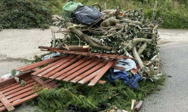 Fly tipping in Inverugie.
