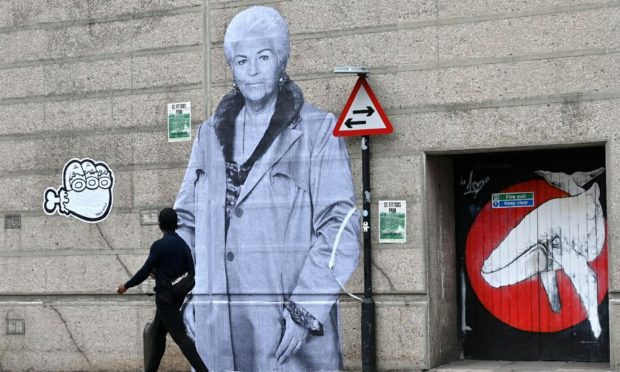The 15ft Pat Butcher portrait that has appeared on Hadden Street in Aberdeen. Picture by Kath Flannery