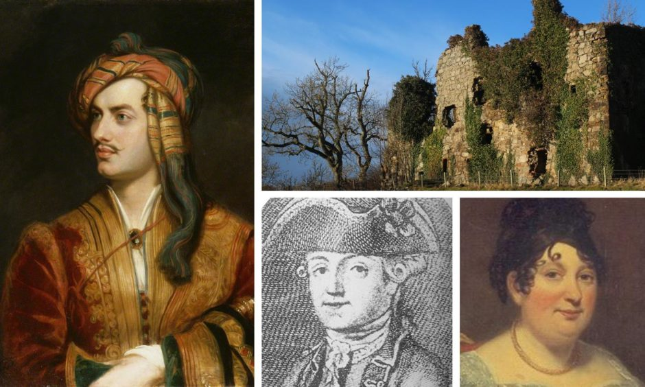 The poet Lord Byron, his mother and father and Gight Castle in Aberdeenshire which belonged to his mother Catherine Gordon