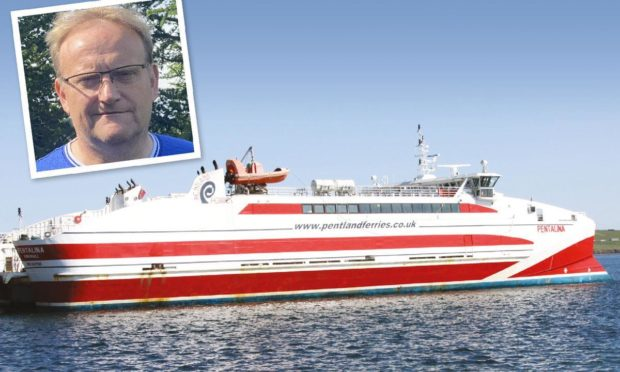 Joe Reade, chairman of Mull and Iona Ferry Committee, and MV Pentalina, similar to the new build catamaran which will not be purchased for the islands.