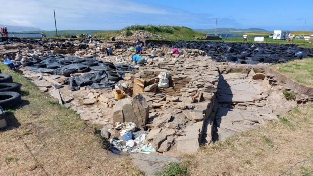 Archaeologists working on the Ness of Brodgar site earlier this summer.