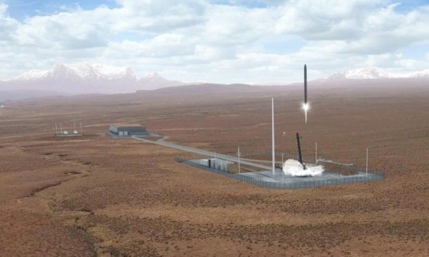 An artist's impression of a rocket launch at the proposed Space Hub Sutherland spaceport.