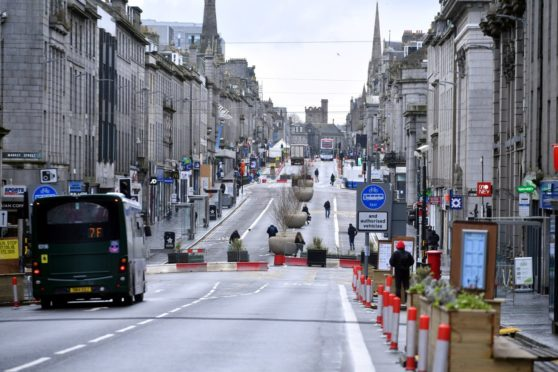 A quiet day on Union Street, Aberdeen.