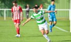 Max Barry celebrates scoring Buckie's fifth goal against Formartine