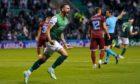 Martin Boyle celebrates scoring Hibs' first goal against Rijeka in the Europa League.