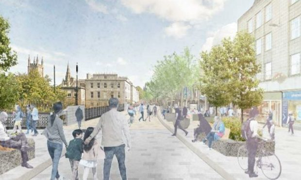 A view of a pedestrianised Union Street in Aberdeen, from the Bridge Street junction.
