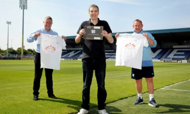 Thurso Football Academy's head of coaching Alyn Gunn (centre) with Caley Thistle's sporting director John Robertson (left) and head coach Billy Dodds.