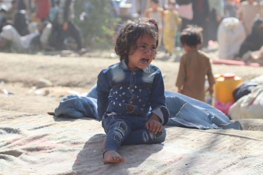 An Afghan child in a displaced persons camp.