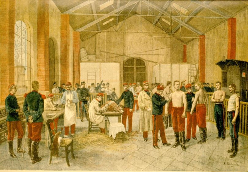 An illustration of army recruits being vaccinated against Cowpox in the 1800s.