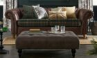 Gosford Large Sofa in Check Newbridge Green and Vintage Faux Leather Light Brown, £975; Union Jack Cushion, £12; Country Check Cushion, £16; Heritage Tree Cushion, £12; Country Tree Curtain, £35-£75; Gosford Ottoman Chair, £299, Next.