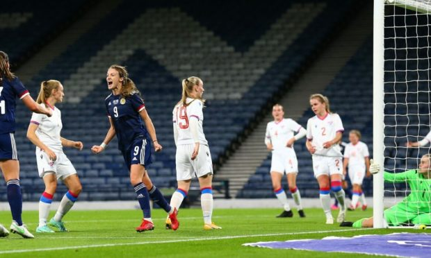Christy Grimshaw of Scotland shoots on the back post and makes it 4-0 in the 39th minute