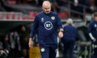 Scotland head coach Steve Clarke at full-time after the defeat to Denmark.
