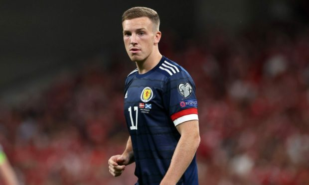 Lewis Ferguson in action for Scotland during the FIFA World Cup Qualifier against Denmark.
