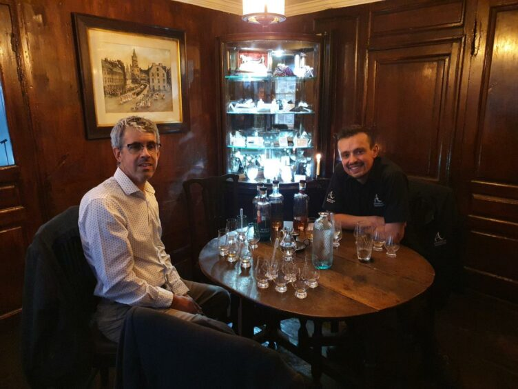 Simon (left) with James the Annandale Distillery cask and whisky specialist