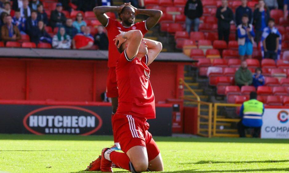 Aberdeen striker Christian Ramirez reacts to missing a chance against St Johnstone.