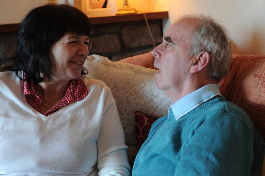 Amanda Kopel and her late husband Frank, at their home in Kirriemuir in 2013.