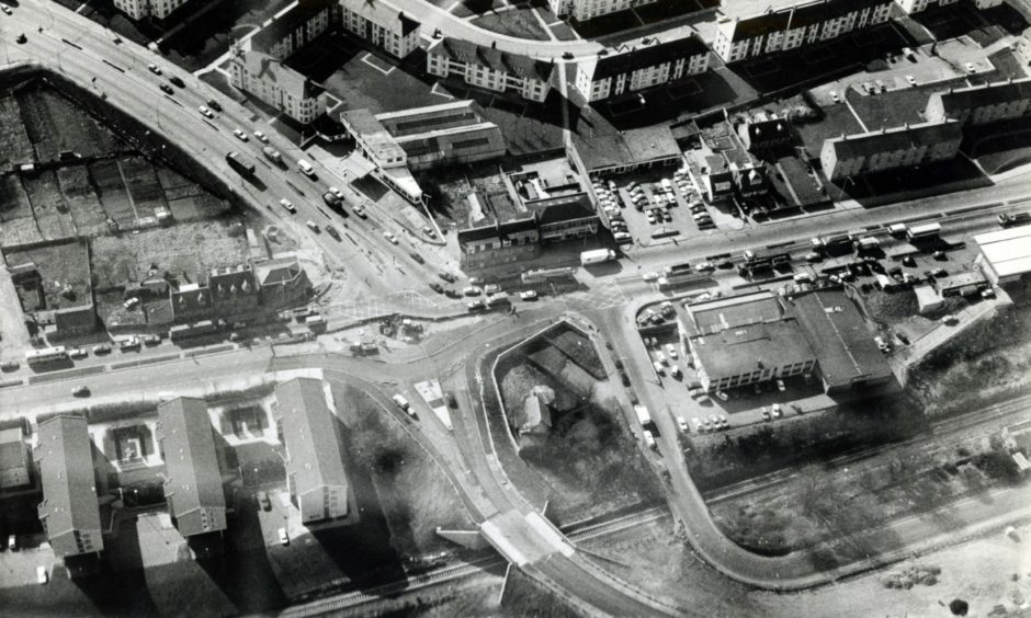 North Anderson Road where it met Great Northern Road to the left ahead of work starting on building the notorious Haudagain roundabout in 1986.