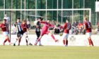 Creag Little scores the opener against Kelty Hearts in the Premier Sports Cup tie in July, but Elgin City lost 3-1.