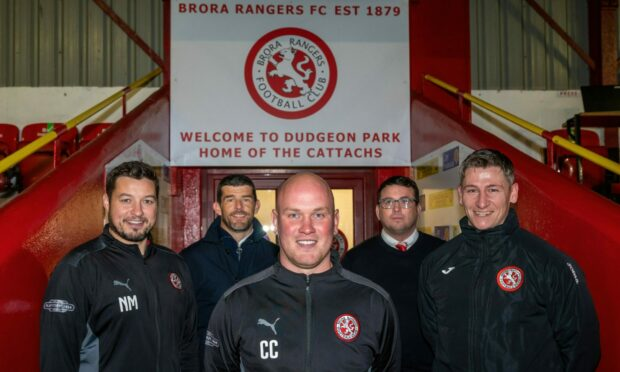 From left to right: Brora coach Neil Macdonald, director Kevin Munro, manager Craig Campbell, vice-chairman Ali Mackenzie and player-coach Josh Meekings
