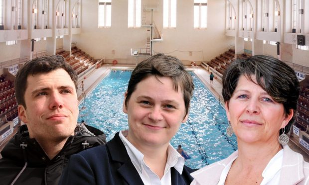 Campaigners working to reopen Bon Accord Baths have hit out at council finance convener Ryan Houghton and chief executive Angela Scott, centre, for a breakdown in communication on the project. Councillor Marie Boulton has now committed to a summit with the volunteers, along with Mr Houghton.