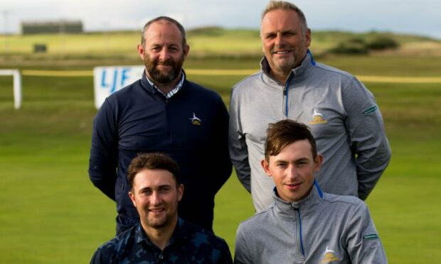 The winning Brora GC team. Top (from left): Chippie Mailley and James Macbeath; Bottom (from left): Ross Naismith and James Ross.