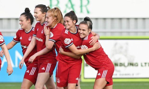 Aberdeen celebrate scoring against Hamilton Accies