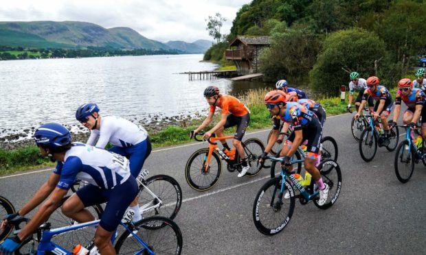 Riders pass Ullswater during stage six of the AJ Bell Tour of Britain from Carlisle to Gateshead. Picture date: Friday September 10, 2021. PA Photo.