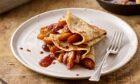 Caramelised apple pancakes.