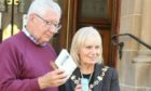 Duncan MacDonald with Provost Helen Carmichael at the launch of the new app