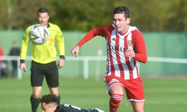 Liam Strachan, pictured playing for parent club Formartine, has joined Keith on loan