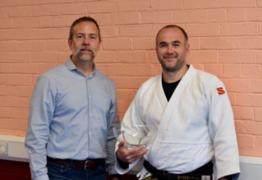 Ultimate Judo head coach Gordon McCathie (right) with Club Sport Aberdeen chairman Brian Pahlmann