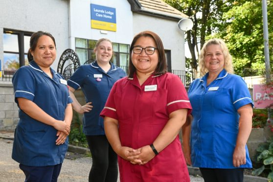 Care home manager Sheila Gesma and staff.