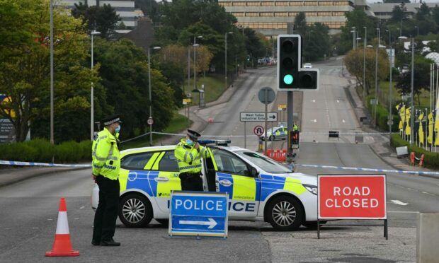 Wellington Road closed by police. Picture by Kenny Elrick.