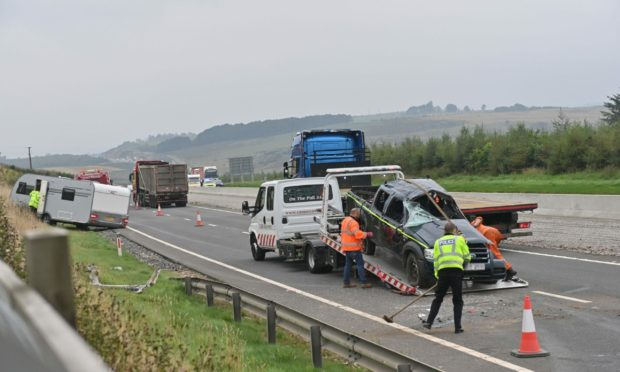 Scene of a collision on the A90 southbound at the A944 between south Kingswells and Milltimber.