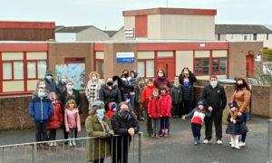 The Save Meethill School Group gather outside the Peterhead primary earlier this year